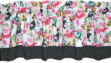 Nw CHIC floral PARIS lace butterflies valance PINK white BLACK dots love LINED