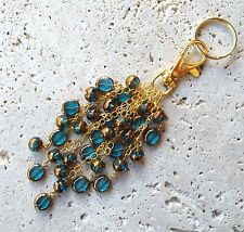 Aqua and Gold Beaded Keyring FOB Purse Charm Great Gift!
