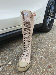 Ladies Beige Brown Canvas Knee High Lace Up Converse Style Goth Boots Size UK 4