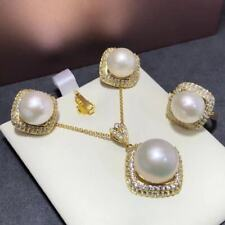 Certification Natural White Pearl S925 Silver Earrings Pendant Ring Set Gift