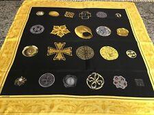 James Galanos Vintage Silk Scarf Black & Gold 34� Square Hand Rolled Hem