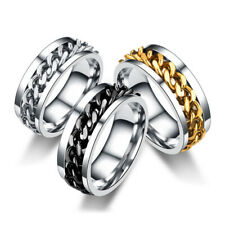 Men Women Rotatable Chain Stainless Steel Ring Unisex Wedding Band Jewelry Gift