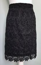 TAIFUN Black Lace Overlay Skirt UK Sz 16 Elastic Waist Party Occasion Lined