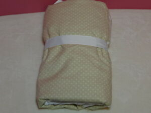 New Pottery Barn Kids Leigh Crib Skirt Tan with White Polka Dots