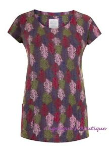 MISTRAL FEATHER CONFETTI PURPLE PINK GREEN COTTON JERSEY TUNIC TOP SZ 8-18 NEW