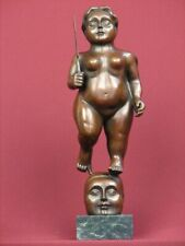 SIGNED HANDCRAFTED BRONZE SCULPTURE MODERN  STATUE AFTER BOTERO ON MARBLE BASE