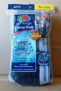 Fruit of the Loom Boys' Boxer Briefs (5 Pack) Prints & Solids Medium (BRAND NEW)