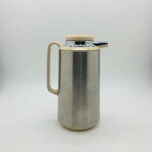 JAPAN Corning Thermique Thermos Carafe Cream & Silver Metal  - Collectable