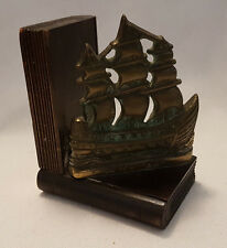 Vintage Saucy Jane English Cutter Ship, Brass and Wood Bookend c1950's