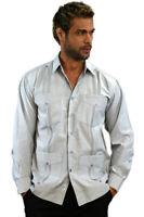 Mens Bohio Cotton Gray Cuban Guayabera Classic 4-Pkt  Shirt (S ~2X)- MTCG1511