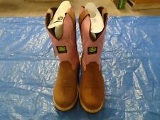 NEW DEALERS JOHN DEERE JD3285 LADIES SIZE 6.5 M TAN/PINK PULL-ON BOOT