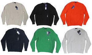 $495 Ralph Lauren Purple Label Mens Crewneck Button Ivy League Knit Sweater New