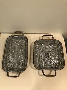2 Woven Silver Metal Wire Serving Baskets Gold Handles Heavy High Quality