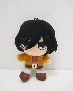 "Attack on Titan Mikasa Ackerman Plush 4.5"" Mascot keychain Toy Doll Japan"