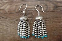 Navajo Indian Jewelry Sterling Silver Turquoise Tassel Earrings! By Mariano