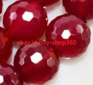 AAA+++ 6-12mm Natural Faceted Red Ruby Gemstone Round Loose Bead 15'' NEW