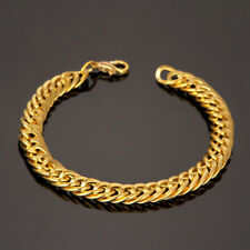 Punk Men Gold Silver Stainless Steel Plated Chain Link Bracelet Wristband Bangle