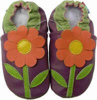carozoo daisy purple 18-24m soft sole leather baby shoes