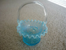 LOVELY BLUE VINTAGE PRESSED GLASS BASKET/RUFFLED EDGES/ CLEAR HANDLE