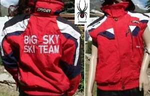 SPYDER ski team jacket BIG SKY MONTANA zip off arm 3 in 1 vest waterproof boy 14