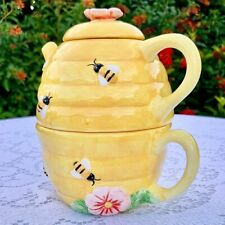 Beehive Bee Flower 2 Cup Teapot with Cup Peggy Jo Ackley Cic
