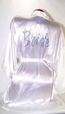 Victoria's Secret  I DO Bride Robe White satin kimono Rhinestone lingerie OS NEW