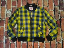 🔥 JUICY COUTURE GOLD FINCH STARLET Plaid Yellow Bomber Jacket size Small