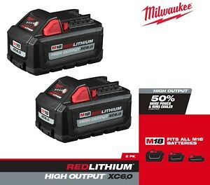 Milwaukee 48-11-1862 M18 RedLithium High Output XC6.0 Battery Pack- 2-Pack