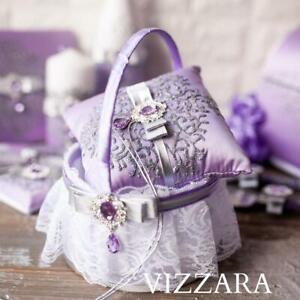 Ring bearer pillow and flower girl basket Lavender