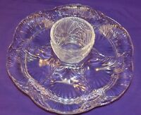 VINTAGE CLEAR GLASS OYSTER PLATE W/ SAUCE CUP 6 WELLS SEAFOOD CLAMS NICE