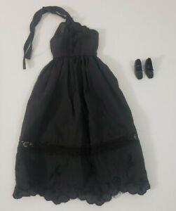 Vintage Barbie Doll Black Halter Dress Floral Trim Long With Shoes Great