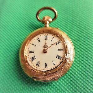 Beautiful Ladies Pocket Watch, Gold 14K, Several Small Bumps , Good Function,