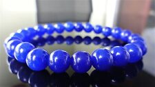 "Dark Royal Blue Jade Bead Bracelet for Men or Women (Stretch) 8mm - 7.5"" inch"