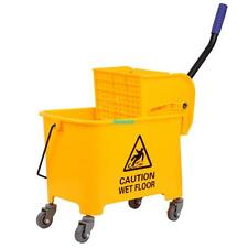 5 Gallon Commercial Mop Bucket With Wringer Combo Rolling Cleaning Cart Side Press