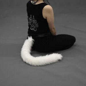 PAWSTAR Kitty Cat Tail - White Furry Halloween Costume feline [WH] 3500