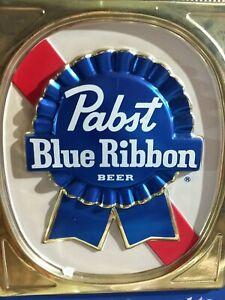 Vintage Pabst Blue Ribbon Brewing Beer Sign Foil Cardboard PBR Original Man Cave