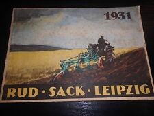 Katalog RUD Sack Leipzig Landtechnik Traktor Schleppergeräte Pflüge Agrar 1931