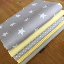 F8 BUNDLE ~ Blender fabric GREY & LEMON YELLOW Cotton SPOTS STARS Gingham