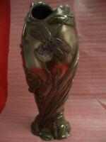 "VERONESE 2004 ART NOUVEAU STYLE BRONZE EFFECT ~~ DRAGONFLY ~~ 12 1/2"" VASE"