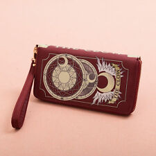 Mesdames anime carte capteur sakura cosplay clow sac cadeau sac à main portefeuille pu rouge