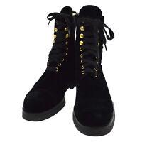 CHANEL CC Logos Short Boots Shoes Black Velvet #36 1/2 309147 Authentic AK38536d