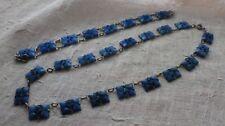 Art Deco Blue Cut Openwork Glass Necklace and Bracelet Set Czechoslovakia