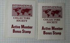 Intl Collectors Society Active Member Bonus Stamp Philatelic Souvenir Ad Label