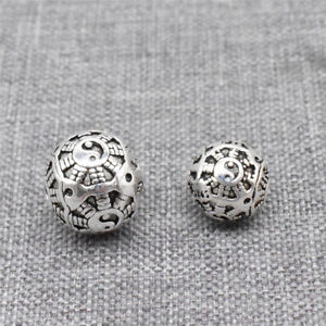 4 Sterling Silver Taichi Round Beads 925 Silver Feng Shui Spacers for Bracelet