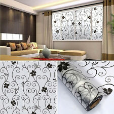 Sweet Frosted Privacy Cover Glass Window Door Black Flower Sticker Film Adhesive