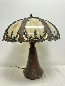 Antique Arts & Crafts Mission Era 8 Panel Caramel Slag Glass Table Lamp Iris