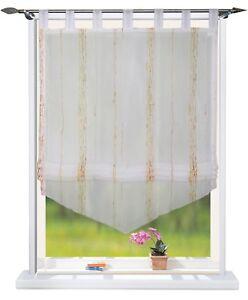 Raffrollo Raffgardine mit Schlaufen B 60 cm x H 160 cm Weiß / Braun