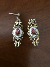 Earring Victorian Style Hand Painted Rose