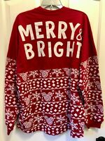 Disney 2020 Christmas Merry & Bright Spirit Jersey Red Mickey Mouse Large NWT