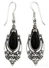 Ohrhänger aus 925 Silber Onyx Träne  Heilstein Mittelalter Ohrschmuck Ohrringe